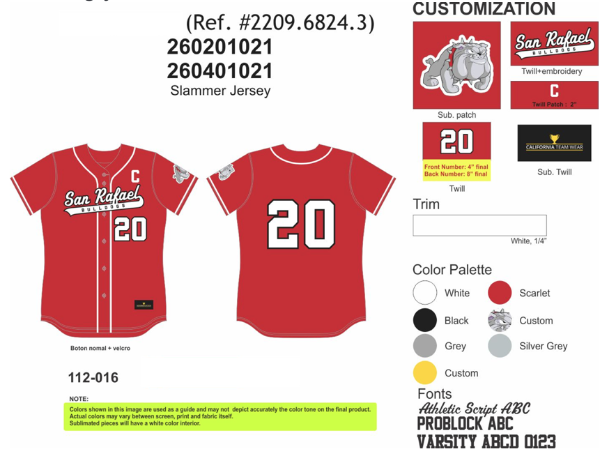 Tackle Twill Jersey for uniform customization